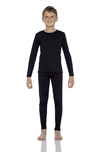 Rocky Thermal Underwear for Boys Fleece Lined Thermals Kids Base Layer Long John Set (Black - X-Small)