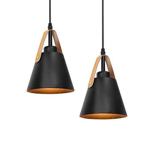 GBLY Lampara colgante vintage negro E27 lampara de mesa de comedor de plastico en aspecto metal, 2 piezas, lampara de estilo industrial para cocina comedor sala de estar barra (sin bombilla)