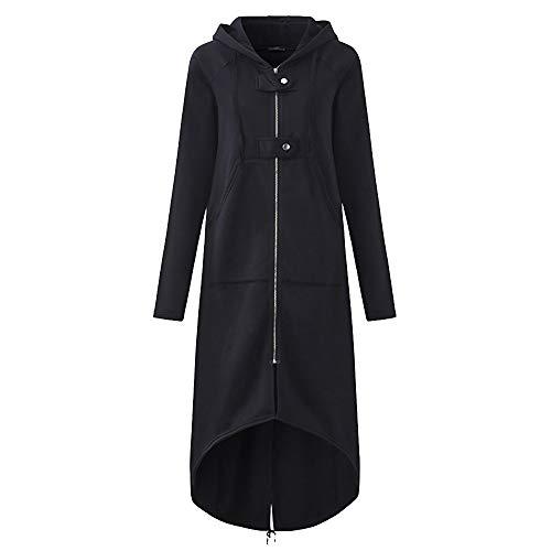 iHENGH Damen Herbst Winter Bequem Mantel Lässig Mode Jacke Frauenmode Kapuzenjacke Lange Ärmel Langer, Fester Mantel mit Tasche(Schwarz, 3XL)