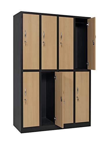 furni24 Garderobenschrank Schließfach Spind Umkleideschrank Kleiderschrank Abteilbreite 30 cm 8-türig fertig montiert Verschiedene Ausführungen verfügbar