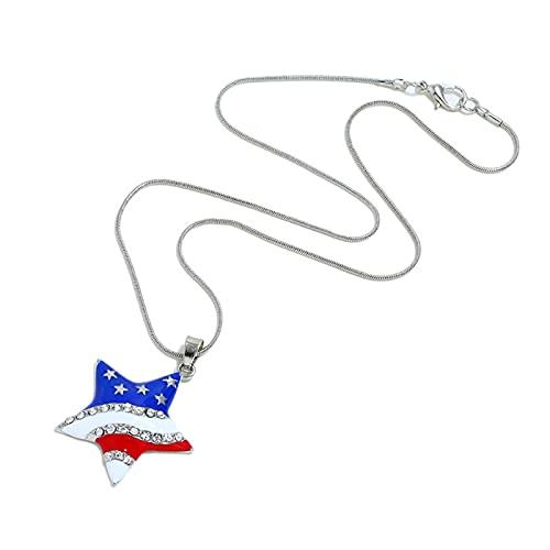 Sailsbury Collana con bandiera americana per il giorno dell'indipendenza patriottica, regalo per ragazze, San Valentino, festa di compleanno, gioiello