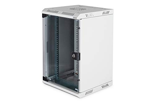 DIGITUS Netzwerk-Schrank 10' / 19' - Wandmontage - 10 Zoll (10HE horizontal) oder 19 Zoll (5HE vertikal) - Grau