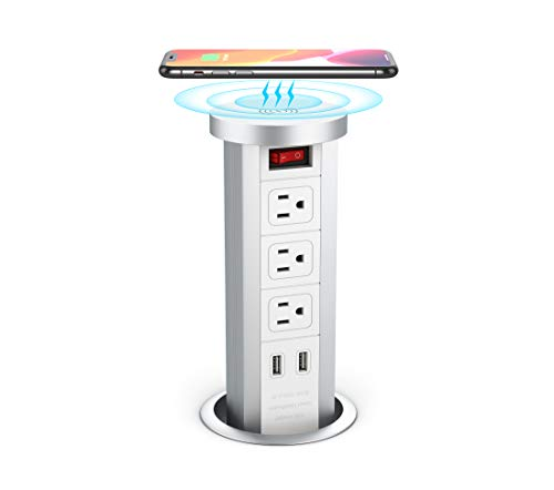 BTU Automatic Pop Up Sockets, Retractable Recessed Power Strip, Surge Protector Power Strip with 3 AC Outlets, 2 4.2A USB Charger Ports and Wireless Charger, Pop Up Outlets for Kitchen Counters