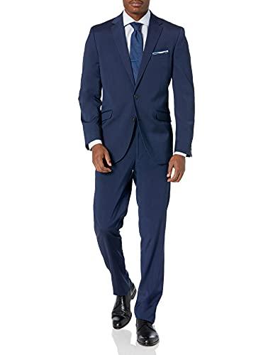 Kenneth Cole REACTION Men's Slim Fit Suit, Blue Stripe, 44 Short