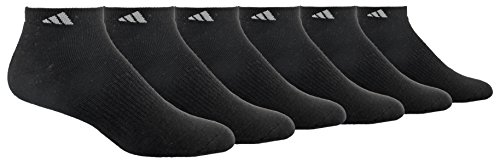 adidas Men's Cushioned Athletic Low Cut Socks (6-Pack), Black/Aluminum 2, regular: 6-12