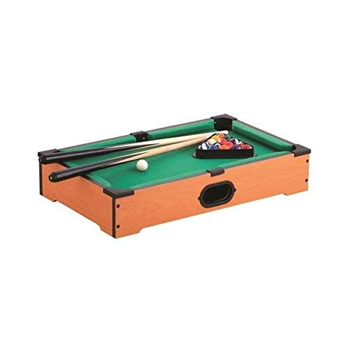 MISTER GADGET Table Billard 51X31X10CM avec 2 QUEUES + 16 Boules + 1 Triangle + 1 Craie Bleue + 1 REGLE du Jeu