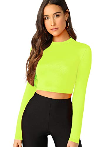Verdusa Women's Casual Slim Fitted Basic Long Sleeve Solid Crop Tee Top Neon Green S