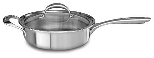 KitchenAid Saute mit Kupferkern, 5-lagig, mit Hilfsgriff und Deckel, Edelstahl, mittelgroß, Edelstahl-Finish