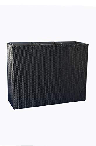 eastwest pflanzkübel Raumteiler Deluxe L110x B40x H60 cm aus Polyrattan in schwarz inkl. 3X Einsätze