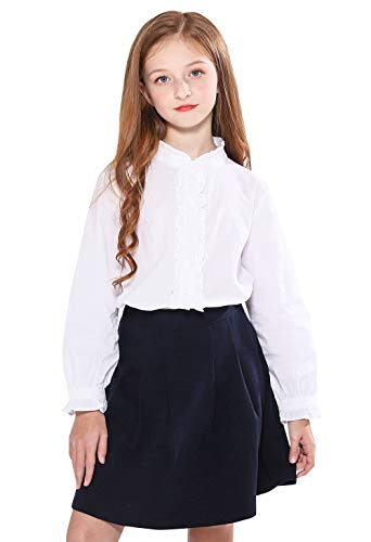 SOLOCOTE Girls White Blouse Ruffle Long Sleeve Button Down Shirts Princess Cotton Loose Soft Tops Spring and Summer, 190903 7-8 White