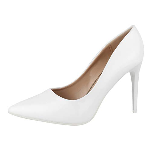 Elara Damen Pumps Spitz High Heels Stiletto Chunkyrayan C-12 White-39
