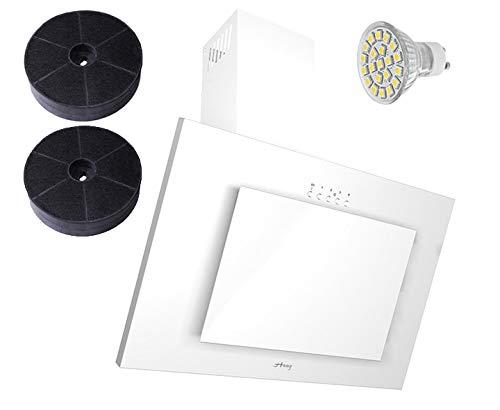 HAAG Vertikal Weiß Glas LED, Kohlefilter, BREITE 50 cm Dunstabzugshaube, Kopffrei, Wandhaube (50)
