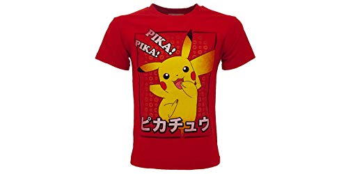 Fashion UK - Camiseta oficial de Pokémon original de Pikachu Pika! Pika. Camiseta para niño rojo 7-8 Años