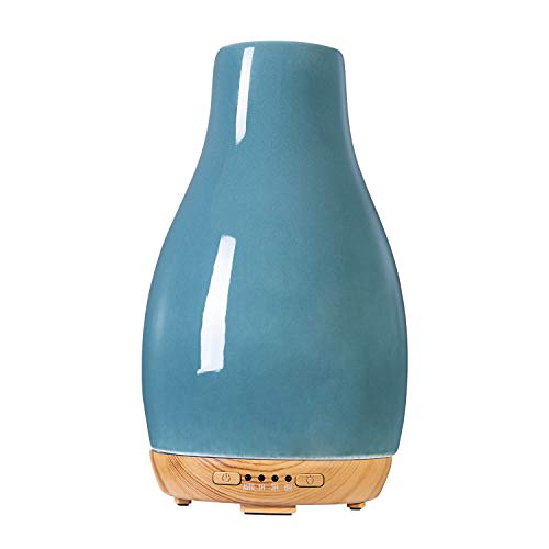 COOSA Aroma Diffuser 250ml Ceramic Teardrop-shaped Essential Oil Diffuser with Color Changing Light Waterless Auto Shut-Off for Home,Office
