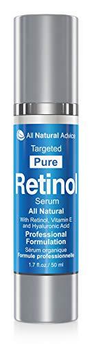 SIERO ANTIRUGHE AL RETINOLO con acido ialuronico di All Natural Advice | Biologico | Rigenera la pelle in maniera naturale | FORMATO GRANDE di 60ml | GARANZIA SODDISFATTI O RIMBORSATI AL 100%