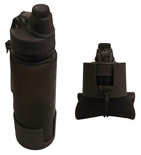 Inet-Trades  TRINKFLASCHE 0,5 L - BPA frei - grau - zusammenrollbar/faltbar - Feldflasche zum Schrauben mit Drehverschluss - aus Silikon - original Produkt