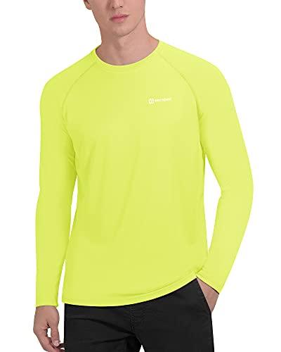 PRETCHIC Men's UPF 50+ UV Sun Protection Long Sleeve Outdoor T Shirt Yellow XL