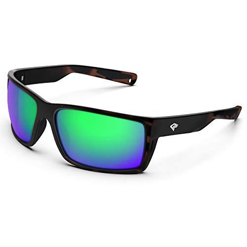 TOREGE Sports Polarized Sunglasses for Men Women Flexible Frame Cycling Running Driving Fishing Mountaineering Trekking Glasses TR24 (Matte Tortoise& Black& Green Revo Lens)