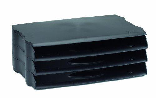 Avery DR800BLK DTR Briefablage (stapelbar, B 243 x T 45 X H 362 mm) 3 Stück schwarz