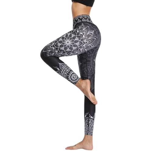 QTJY Moda para Mujer Pantalones de Yoga Leggings Delgados de Cintura Alta con Textura Fitness Correr Gimnasio Flexiones Celulitis Pantalones Deportivos A XL