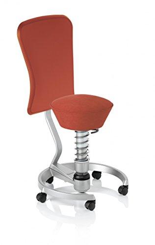 Aeris swopper Work 3D-Aktiv-Bürodrehstuhl | ergonomischer Bürostuhl mit 3D-Aktiv-Sitz Mikrofaser | flexibel & fördert aufrechte Haltung, Stoffmuster:Ferraro-Rot