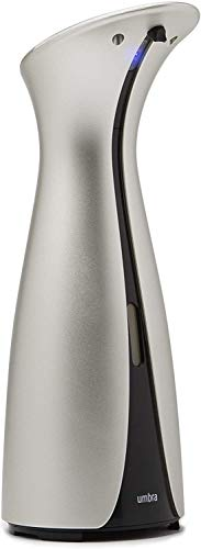 Umbra Otto 250ml Automatischer Bewegungssensor, Touchless Seifenspender mit Infrarot Sensor für Flüssigseife, Handdesinfektionsmittel und Spülmittel, Kunststoff, Nickel, 8.9 x 11.4 x 25.4 cm