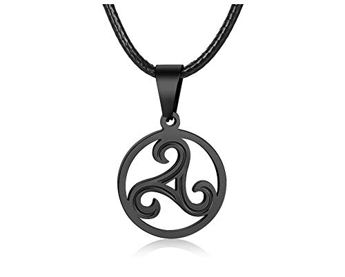 PJ Jewelry Men's Celtic Symbol Triskelion Pendant Stainless Steel Triskele Triple Spiral Necklace with Leather Chain,Black