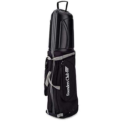 Founders Club Golf Travel Cover Luggage for Golf Clubs with ABS Hard Shell Top Travel Bag (Black)
