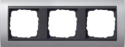 Gira 021306 Abdeckrahmen 3-fach Event aluminium mit anthrazit Zwischenrahmen