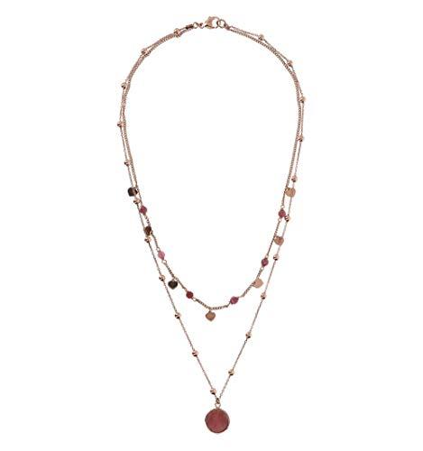 Collar Bronzallure doble hilo con piedra de colores y corazones dorados rosados WSBZ01793.RDW