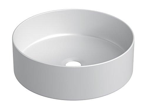 STARBATH PLUS - Runder Aufsatzwaschbecken - Matte Weiß - Extra feine Keramik - Elegant und widerstandsfähig - Maße 35 x 35 x 12 cm.