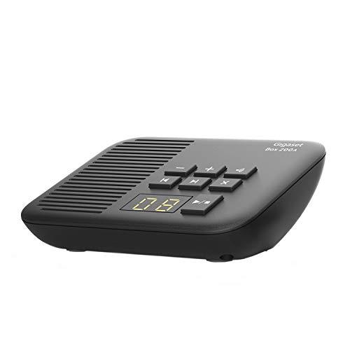 Gigaset DECT Basisstation Box 200A mit Anrufbeantworter für Ihr eigenes Kommunikationssystem mit Gigaset Mobilteilen - Basis unterstützt 6 Mobilteile für den analogen Telefonanschluss, in schwarz