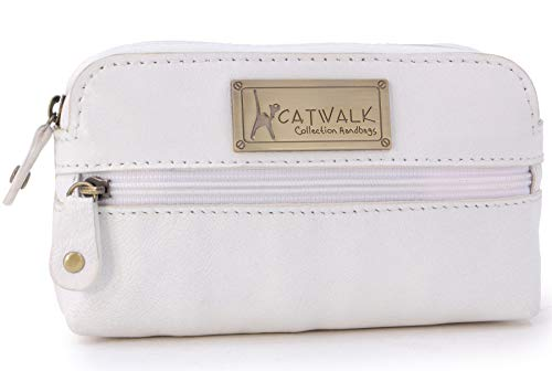 CATWALK COLLECTION - Estuche compacto para cámara - Cuero genuino - Bolsa de accesorios para bolso - Bolso de viaje pequeño - Multiuso - SAVANNAH - Blanco