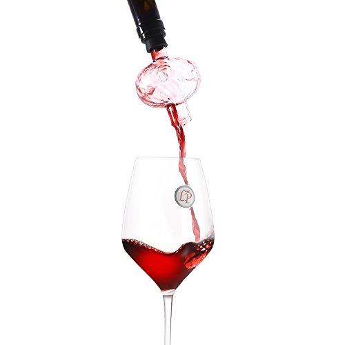 Lovinpro Wine Aerator Pourer, BottleTop Wine Aerating Decanter Spout,Makes Your Wine Taste Better Instantly Made of Glass,Suit for All Wine Bottles