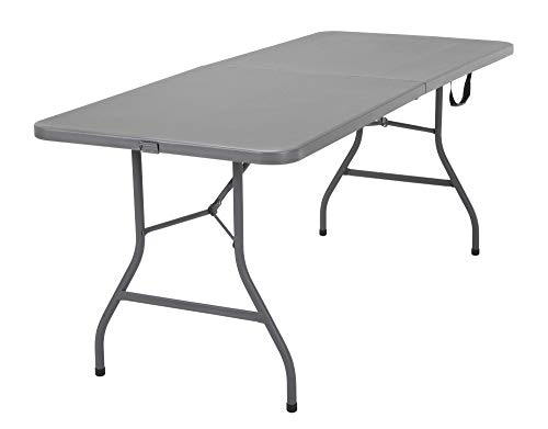 New Update Gray Deluxe 6 Foot x 30 inch Fold-in-Half Blow Molded Folding Table
