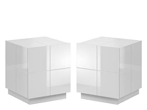 Nachttisch mit Schublade Wamoz 1S, Nachtkonsole, Nachtschrank, Nachtkommode, Beistelltisch, Schlafzimmerkommode (Weiß Hochglanz, ohne Beleuchtung)