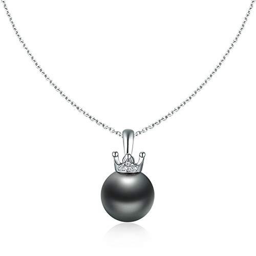 Dxnbp Collar de Perlas Negras Perla cultivada de Tahití Colgante de Corona de Reina con Cadena de Plata esterlina Regalos de joyería para Mujeres Esposa Mamá Hija