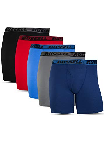 Russell Athletic Men's All Day Comfort (5 Pack), Boxer Brief - Assorted, Large