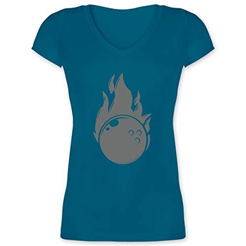 Bowling & Kegeln - Bowling Flammen Ball einfarbig - XXL - Türkis - Bowlingkugel - XO1525 - Damen T-Shirt mit V-Ausschnitt