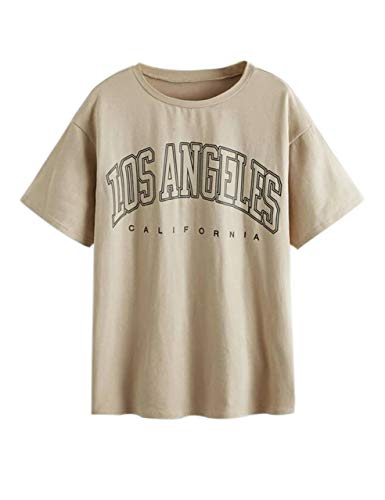 Meladyan Women Casual Los Angeles Letter Print Short Sleeve Tee Shirt Funny Summer Round Neck Shirts Blouse Tops Apricot