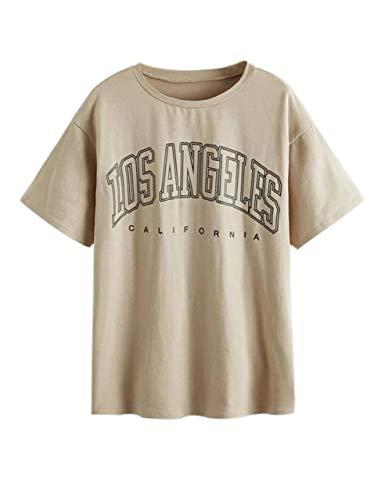 SAFRISIOR Women's Letter Graphic Print Oversize T Shirt Round Neck Drop Shoulder Longline Short Sleeve Tee Shirt Tops (Large, Apricot)