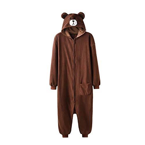 Schlafanzug Animal Onesie Plus Size XXL Bär Kigurumis 150-190 cm Erwachsene Frauen Männer Pyjama Schlaf Overall Polar Fleece Zipper Jumpsuit-Bär_XL