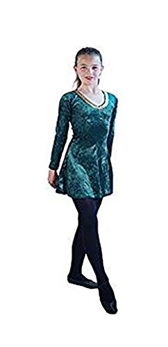 Stage-Celtic-Irish-Lyrical Short Irish Dance Dress Ladies Costume - in Variation of Colours & Sizes (UK 10, Forest Green)
