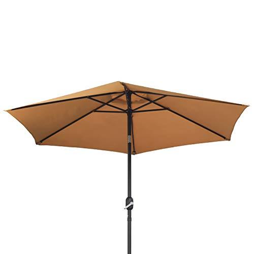 Ribelli Ombrellone Parasole ombrellone da Giardino ombrellone da Spiaggia Balcone Protezione dal Sole, colorazione:Taupe, Diametro:270 cm