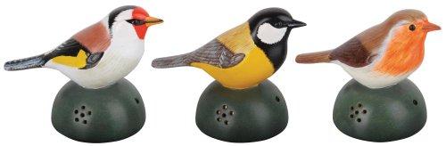 Esschert Design Willkommens-Vogel, begrüßt Ihre Gäste, inkl. Batterien, Keramik, 6 x 9,5 x 12 cm