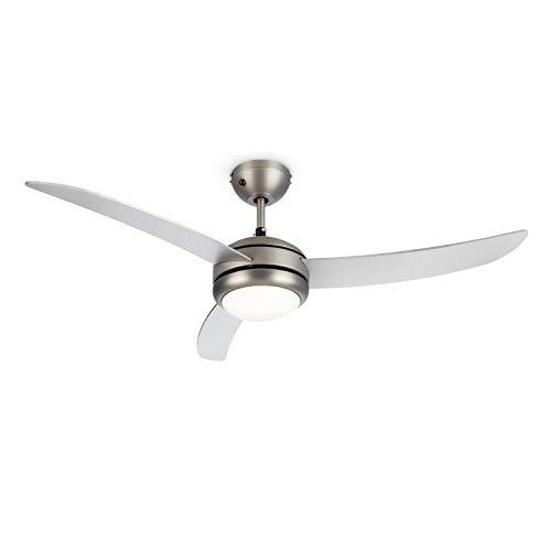 """Klarstein El Paso Deckenventilator - 2-in-1: Ventilator & Deckenlampe, Durchmesser: 52\"""" (132 cm), 3 Flügel, Luftdurchsatz: 10.344 m³/h, 3 Geschwindigkeitsstufen, silber"""