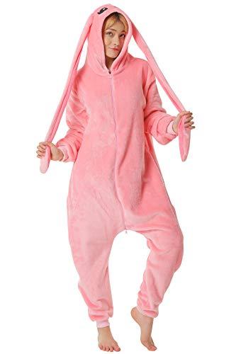Corimori 1852 (veel dieren) ritssluiting premium dames en heren onesie/kostuums Körpergröße 170-180 cm Bonnie de konijn (roze)