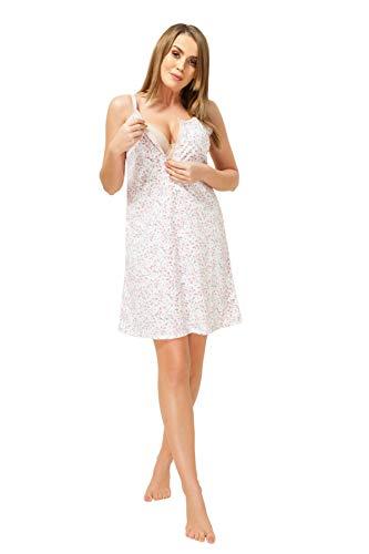 Sibinulo Camisón de Maternidad Pijama Lactancia Vestido Hospital Camisón para Madres Muérdago Rosa L