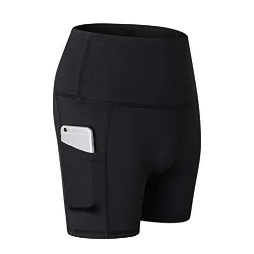 WOZOW Damen Leggings Solid Basic Seitentasche Fahrradhosen Sporthosen Short Stretch Skinny High Waist Workout Laufhose Yoga Kurze Hosen (XL,Schwarz)