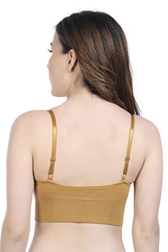 Grabston Women's T-Shirt Lightly Padded Bra for Daily Use Bra Cum Slip Joint Padded Bra (Brown, Free)